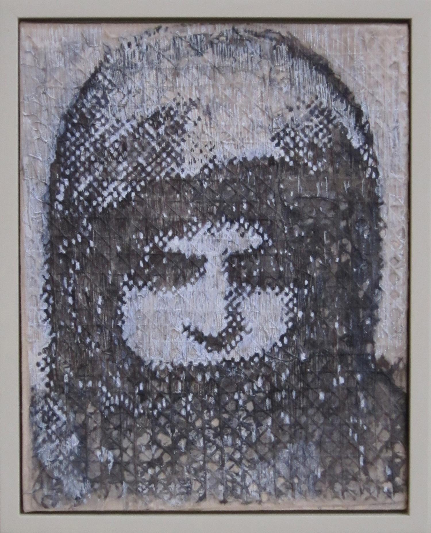5bk(0) - Orphan Girl, inks on handmade paper over canvas, 14x11 in. 2010.jpg