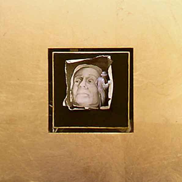 5cc(0) - De-Face,  gold leaf, ink on paper, plaster, gesso, wood - 8x8 in. - 2003.jpg