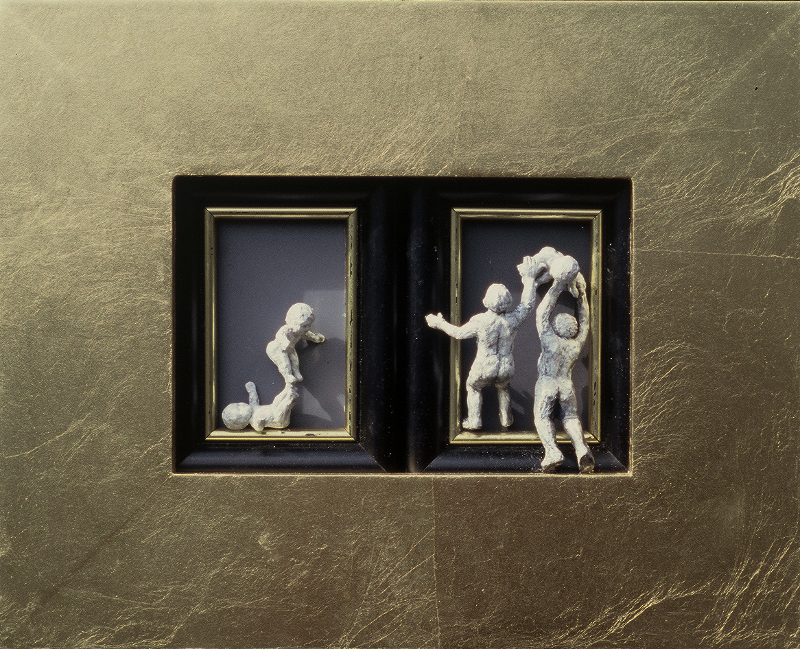 5ce(0) - Not-So-Still Lives, gold leaf, plaster, gesso, wood, 8x10 in., 2002.jpg