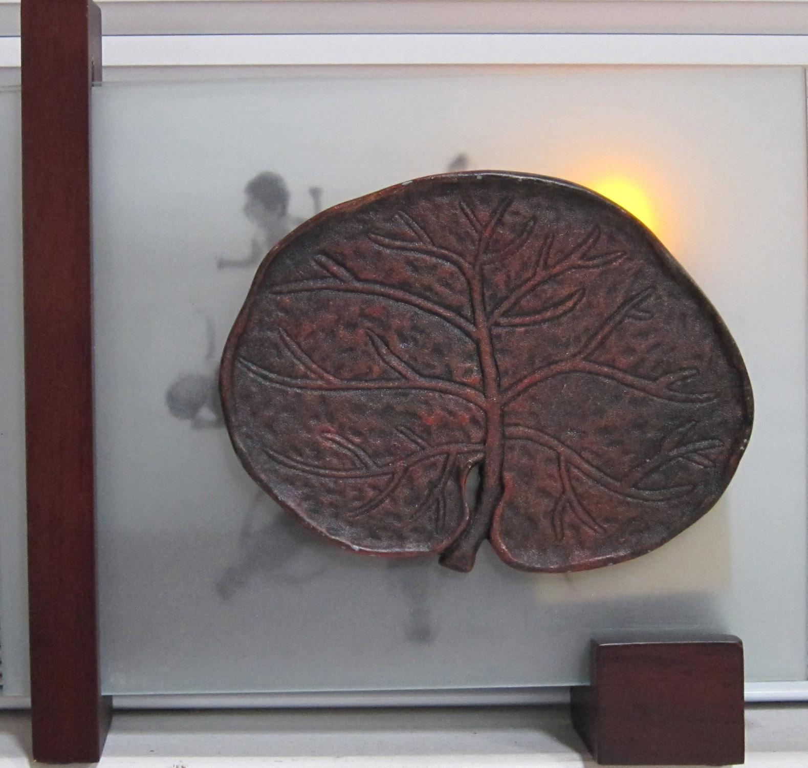 5cl(0) -Burning Bush- glass, clay, light, wood, 8x9x3 in., 2010.jpg