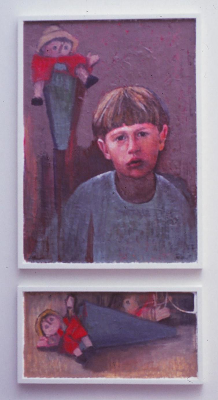 5dd(0) - In Toyland (Portrait of Roman), oil, wax on wood panel, 42x24 in. diptych,  2005.jpg