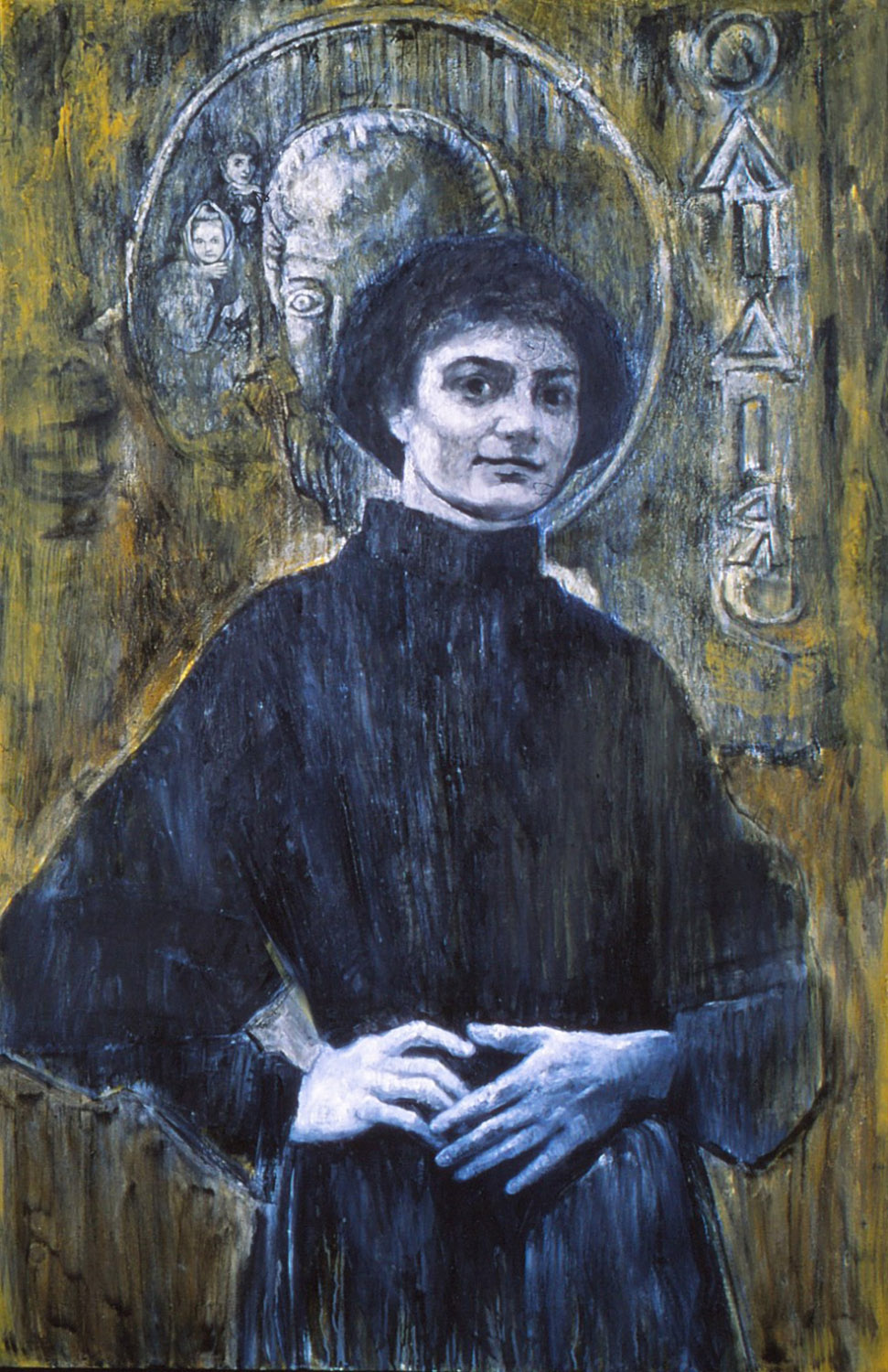 5dp(0) - My Story - oil, wax, resins on canvas, 74x47 in., 1995.jpg