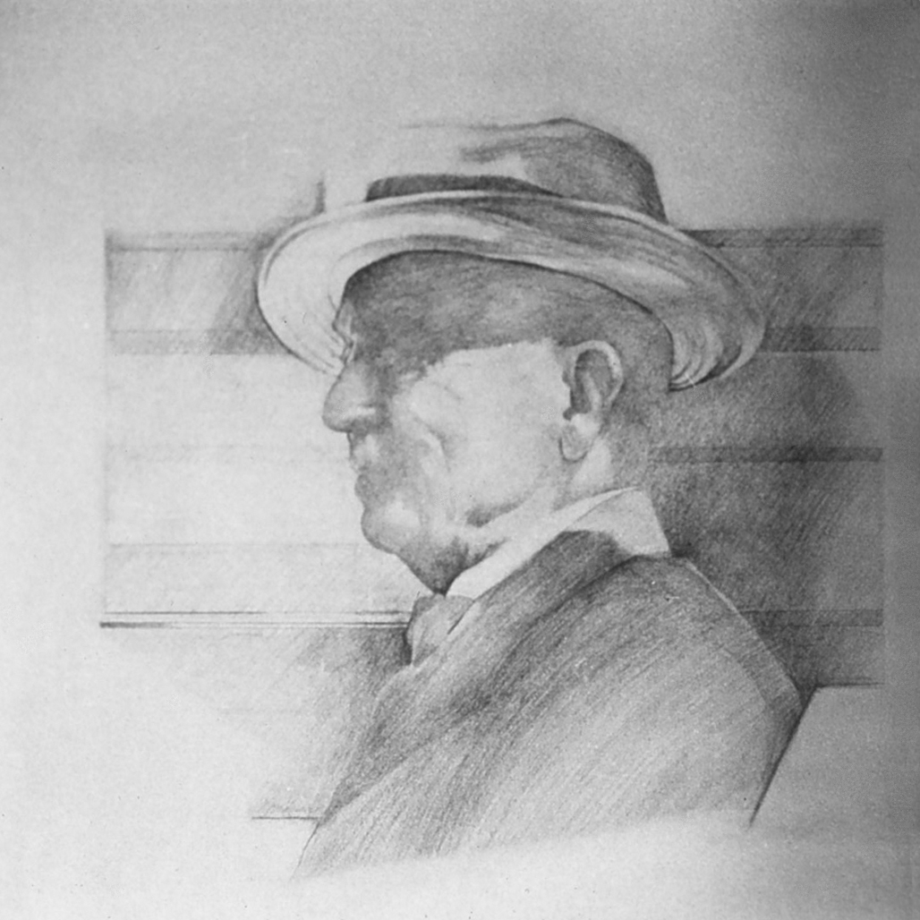 5dv(0) - His Jaunty Hat - pencil on paper, 18x18 in., 1979.jpg