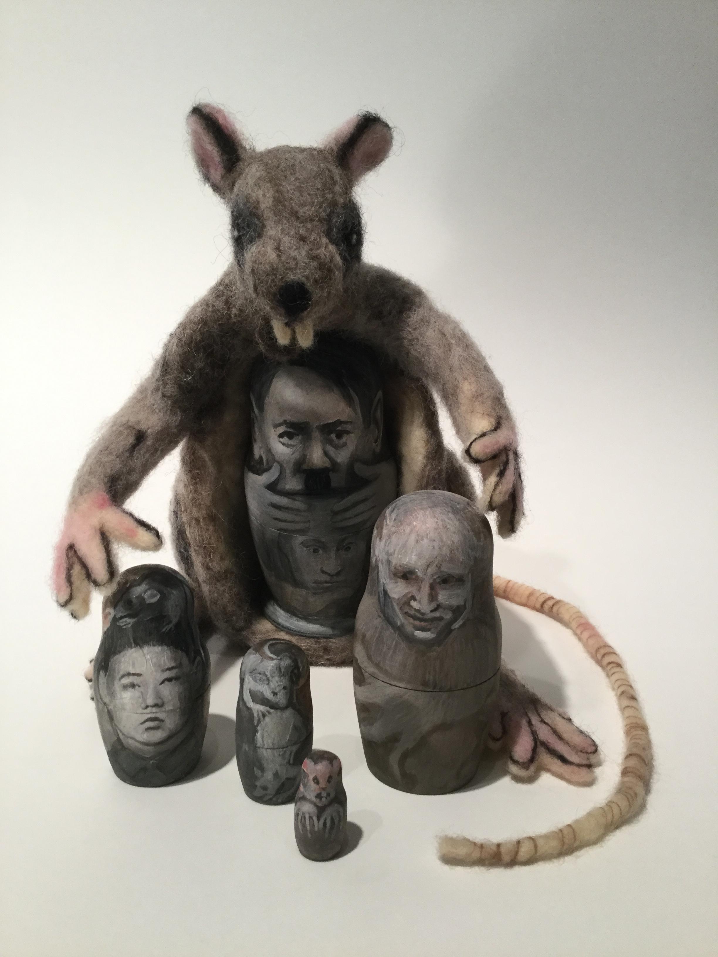 (B)rats -felted rat, 5 wood nesting dolls painted w oil, mm 5x4x3x in. 2017 - (P).JPG
