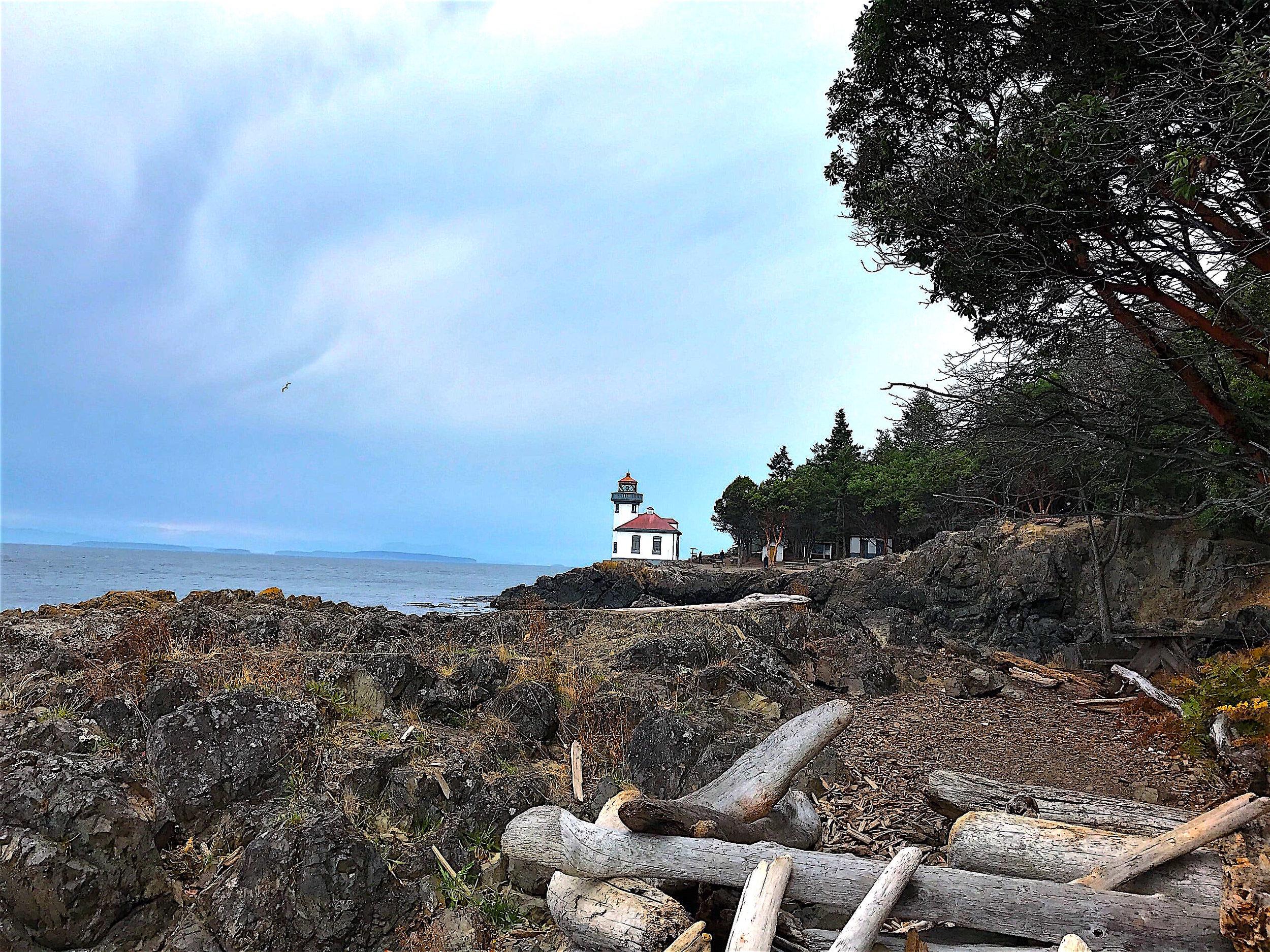 Hike a quarter mile to the Lime Kiln Lighthouse