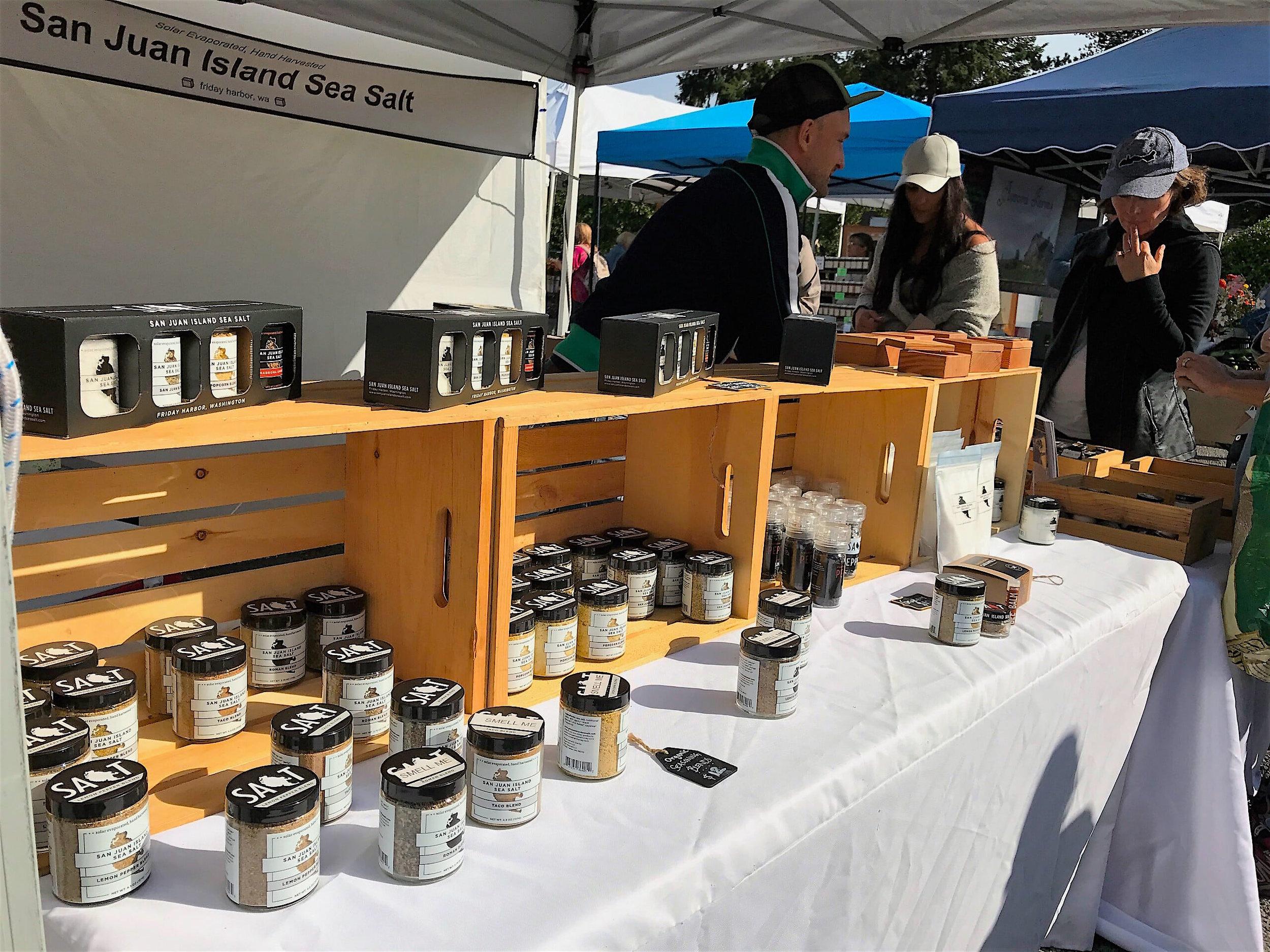 San Juan Island Sea Salt's booth at the Saturday Farmer's Market