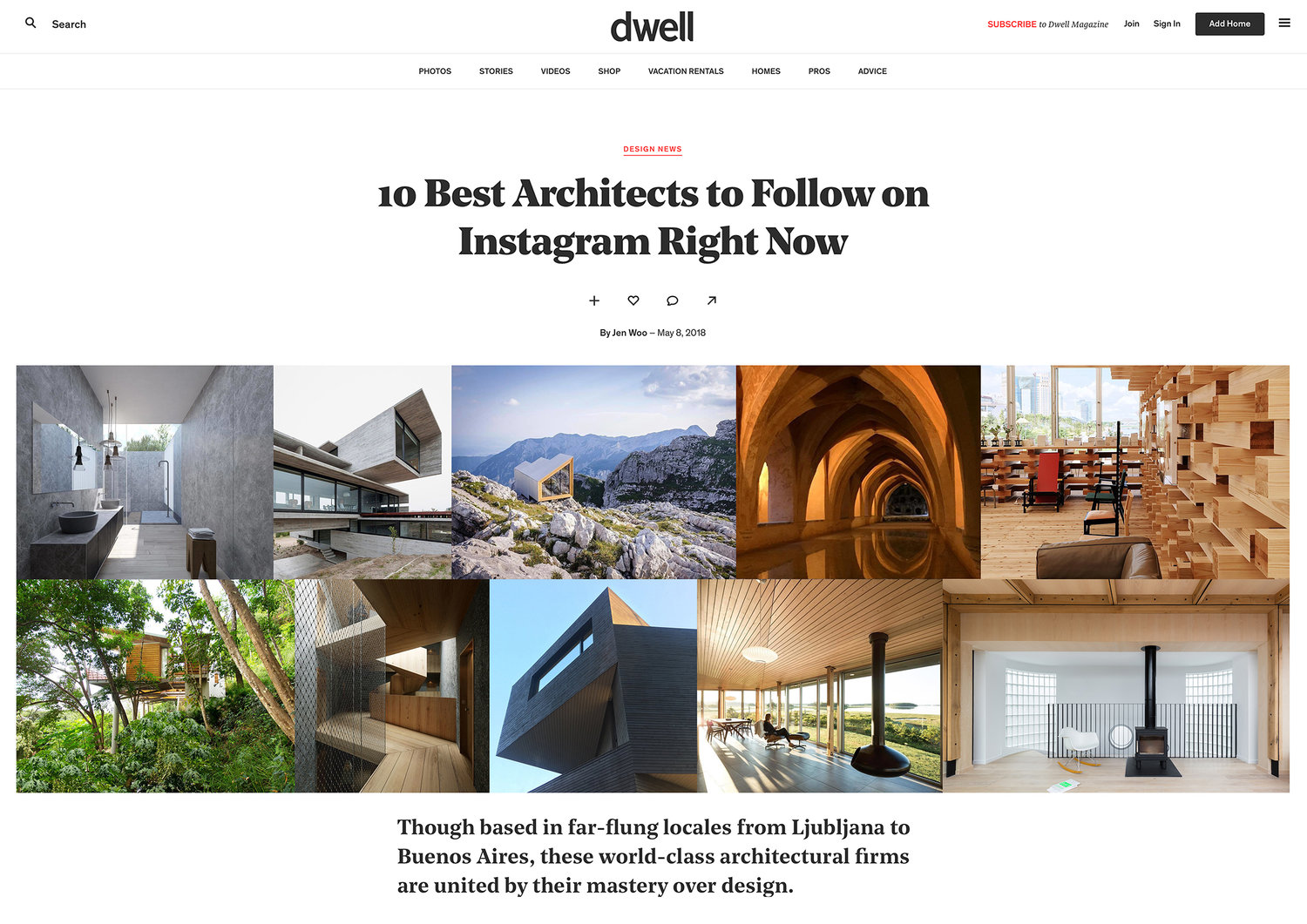 NEWS  Thank you to  dwell  for naming us as one of your '10 Best Architects to Follow on Instagram Right Now' list! Read their kind words   here   .