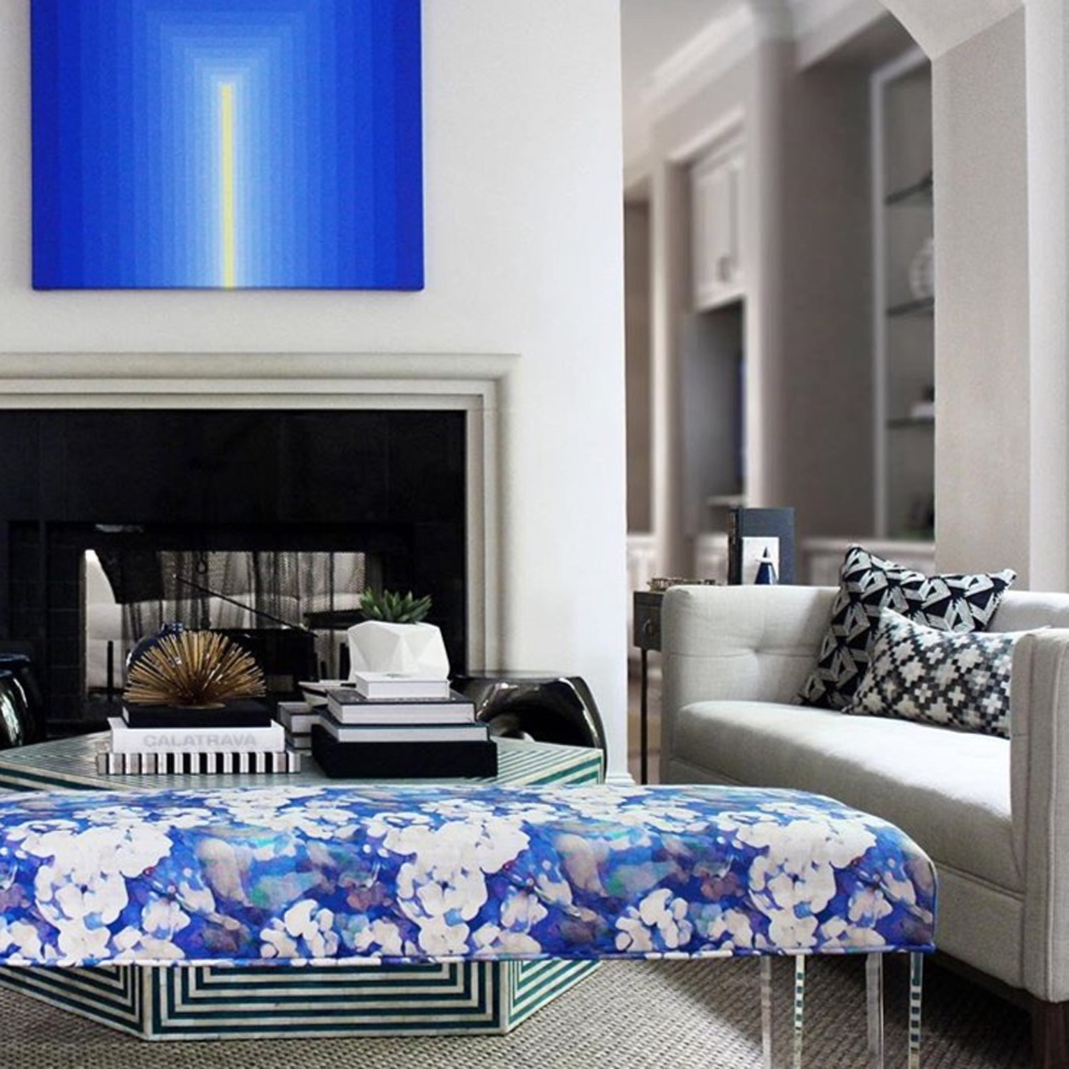 A commissioned piece through  Dimmitt Contemporary Art  is included in this Houston residential space designed by  Stone Textile Studio  of Austin, TX. What a stunning room!