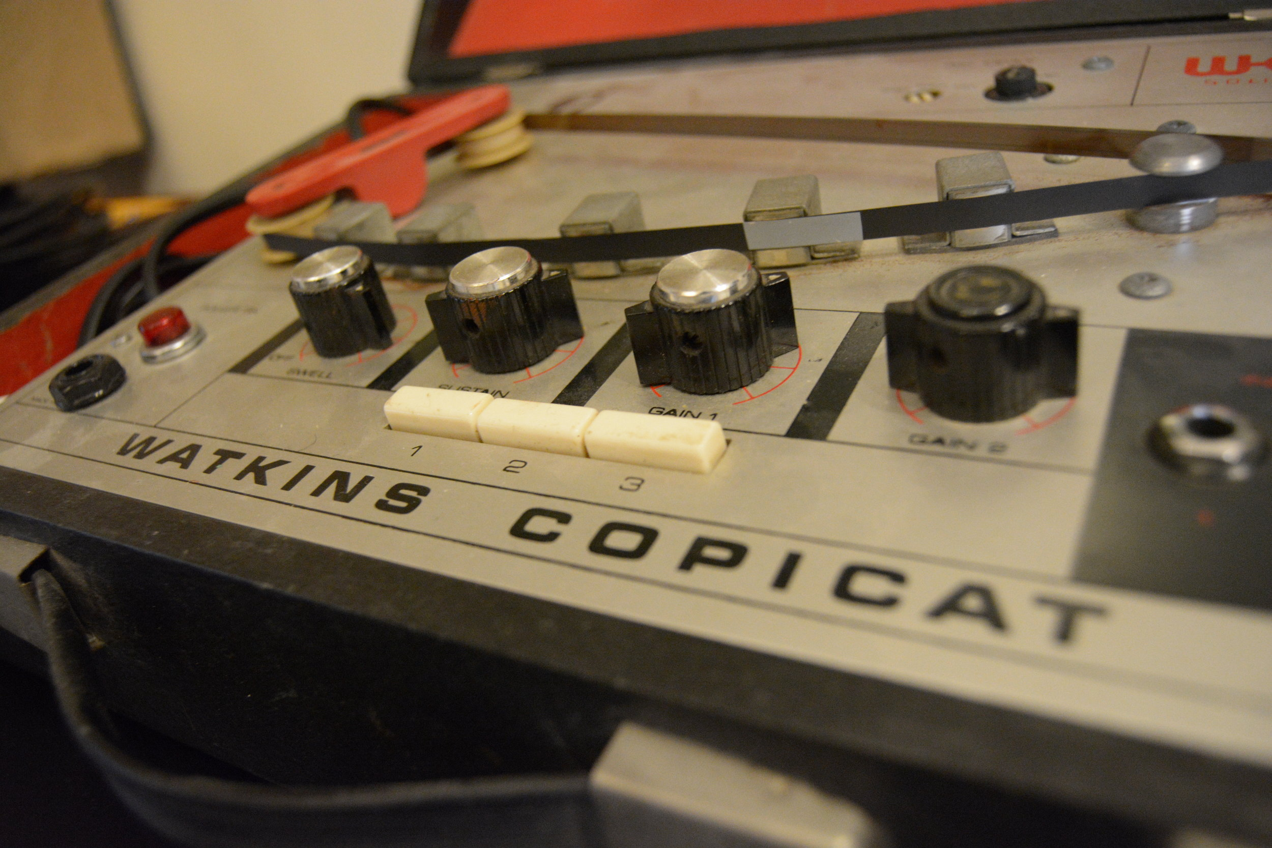 The Watkins Copicat, getting ready to chew on some fresh tape loops