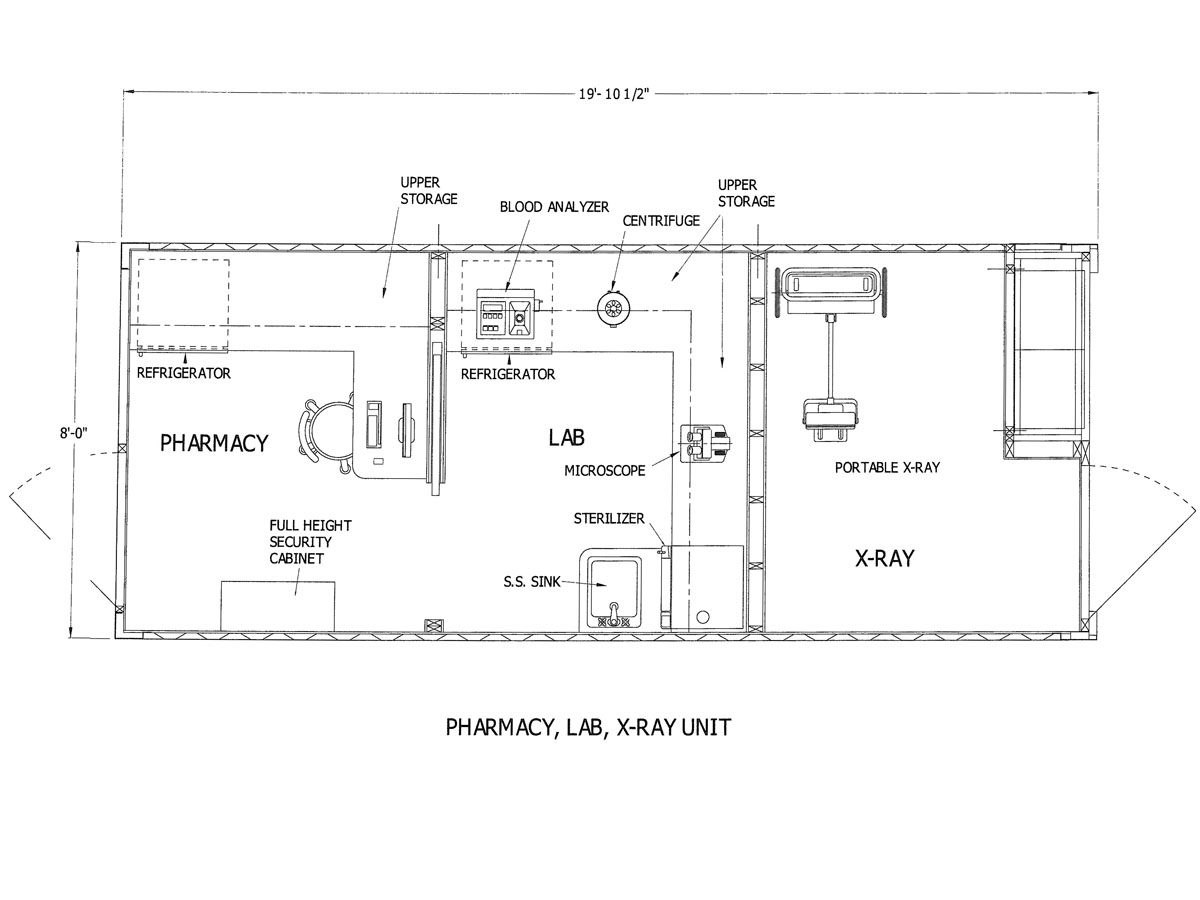 Western Shelter Container Hospital Pharmacy, Lab, X-Ray plans