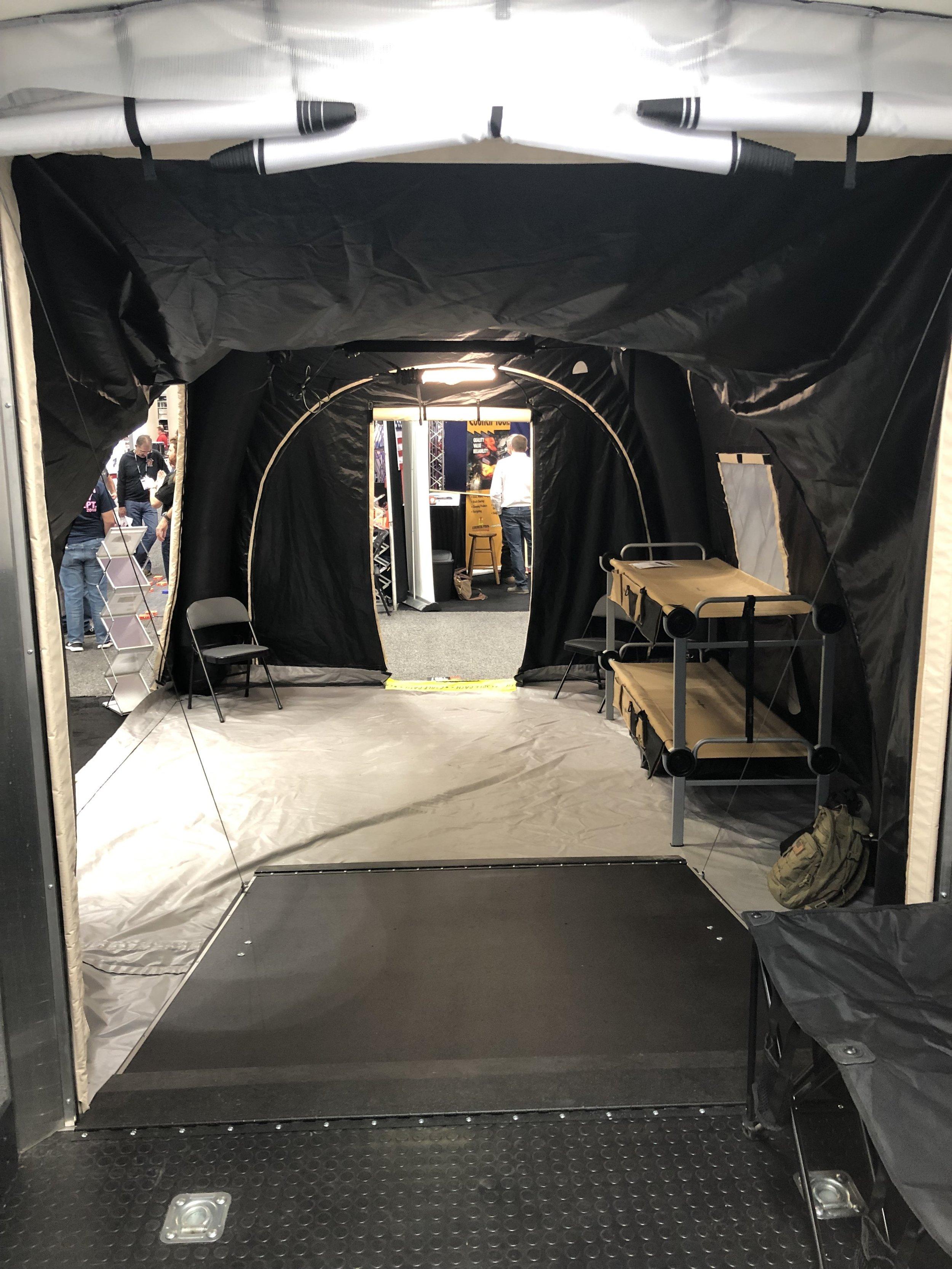 Disc-O Beds inside our    EMS Trailer + Sentry Kit    at FDIC 2019