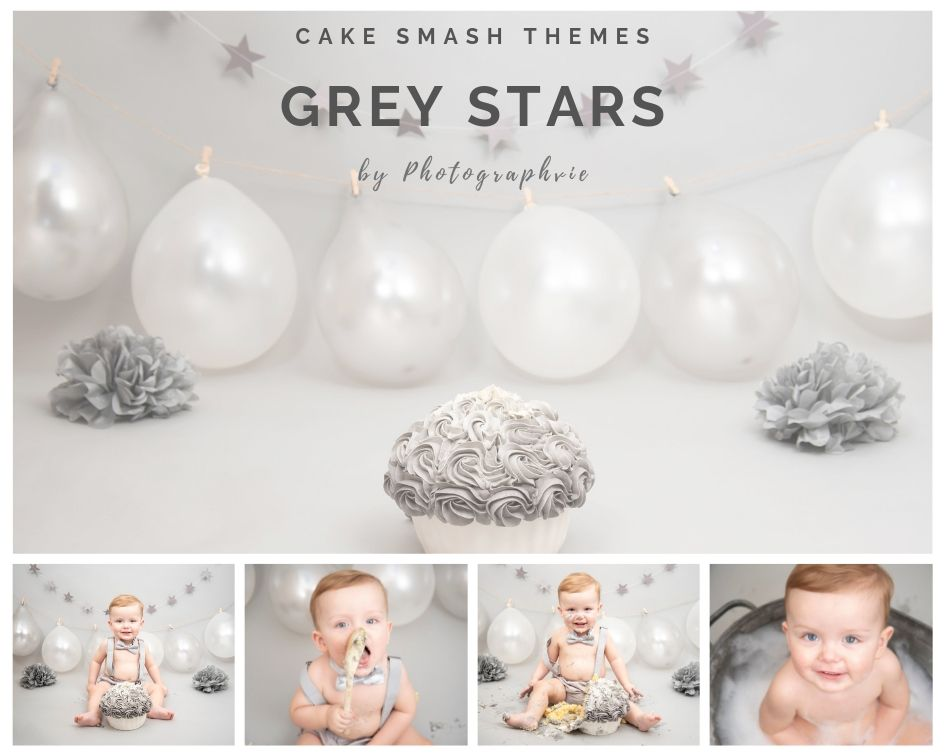 Grey Stars Cake Smash Photoshoot
