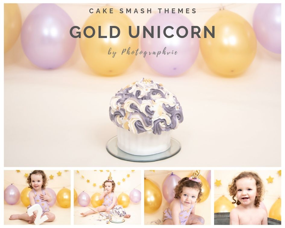 Gold Unicorn Cake Smash Photoshoot