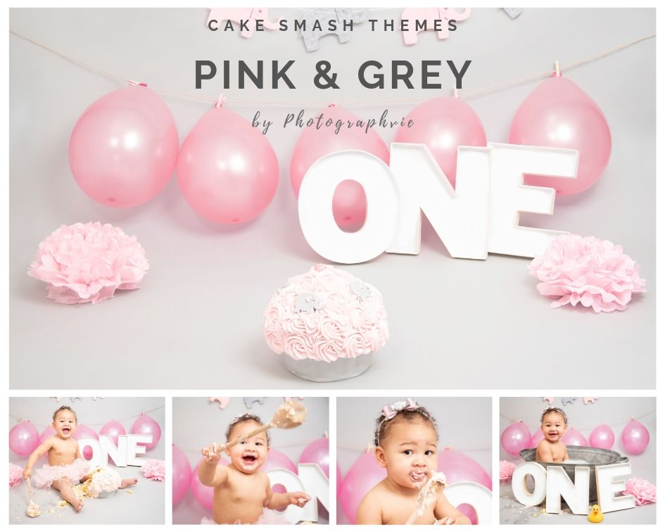 Pink & Grey Cake Smash Photoshoot