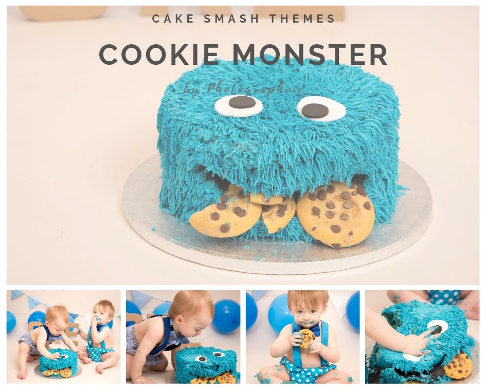 Cookie Monster Cake Smash Photoshoot
