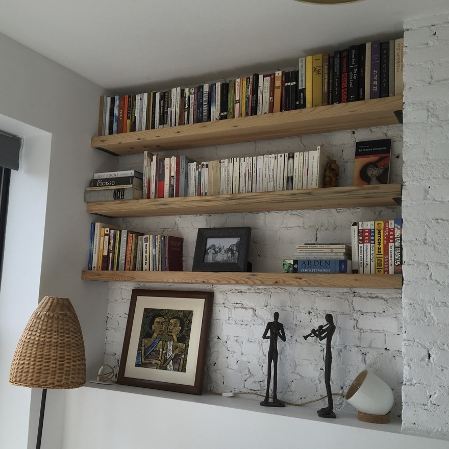 reclaimed fir shelves, steel brackets, Brooklyn, NY