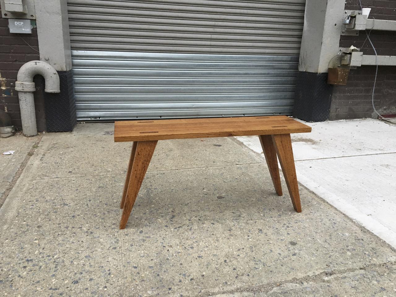 Reclaimed oak bench, Brooklyn, NY