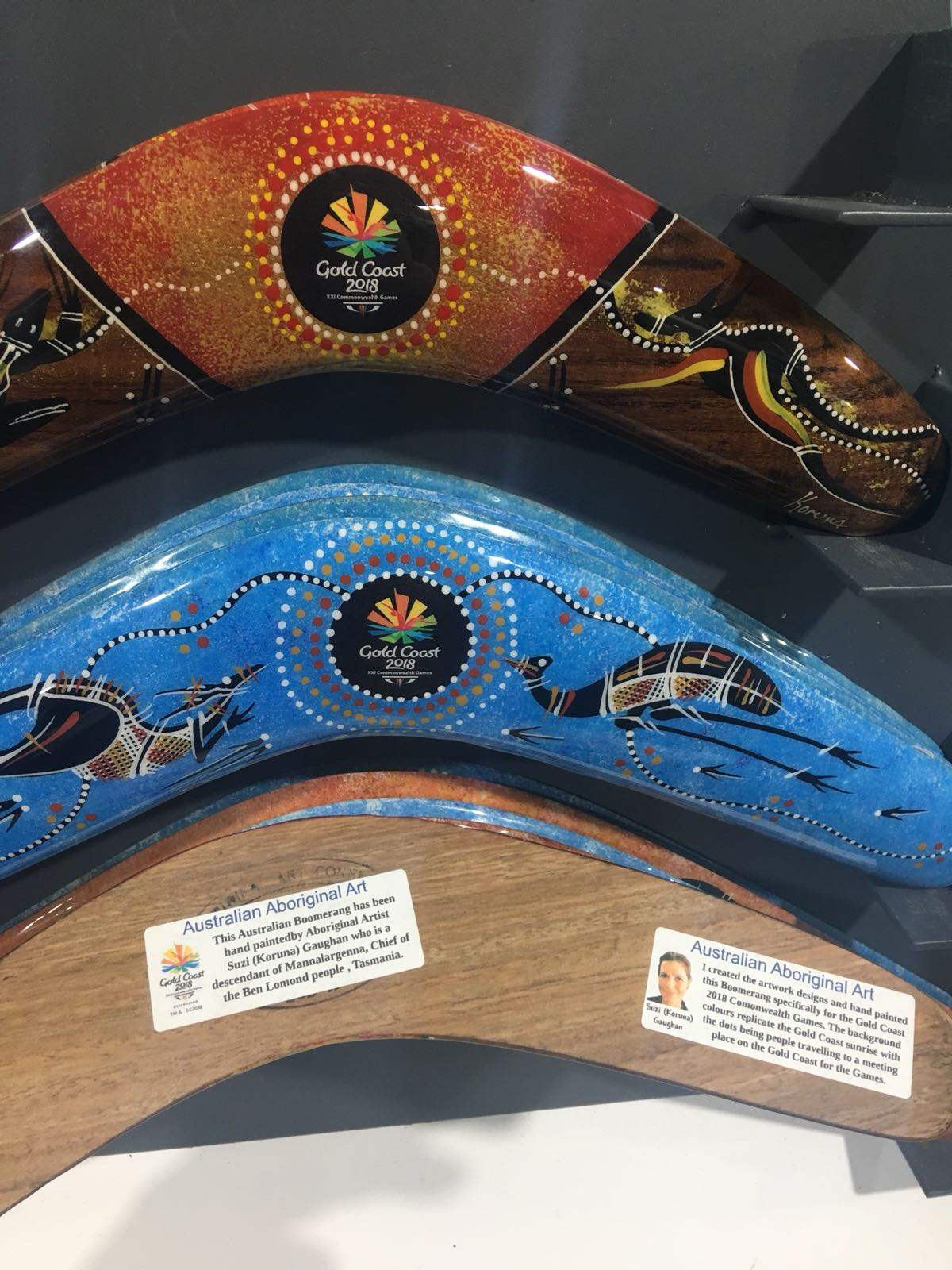 This Australian boomerang has been hand painted by Aboriginal artist Suzi (Koruna) Gaughan who is a descendant of Mannalargenna, Chief of the Ben Lomond people, Tasmania.
