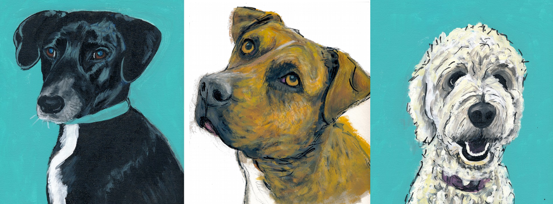 Pet portrait commissions of Bella, Rufus, and Toby by Ink Original art.