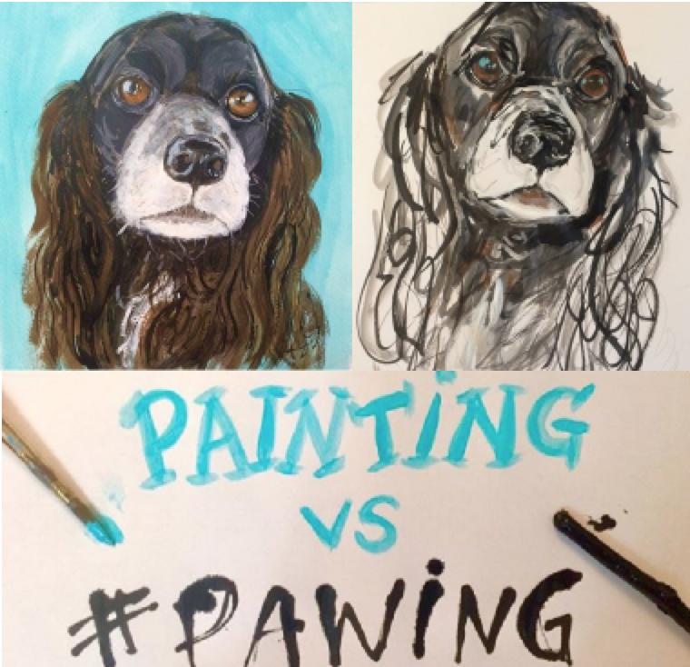 Another example of a pet portrait painting versus a pet portrait PAWING.