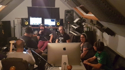 Just a few of the crew doing the show in the studio