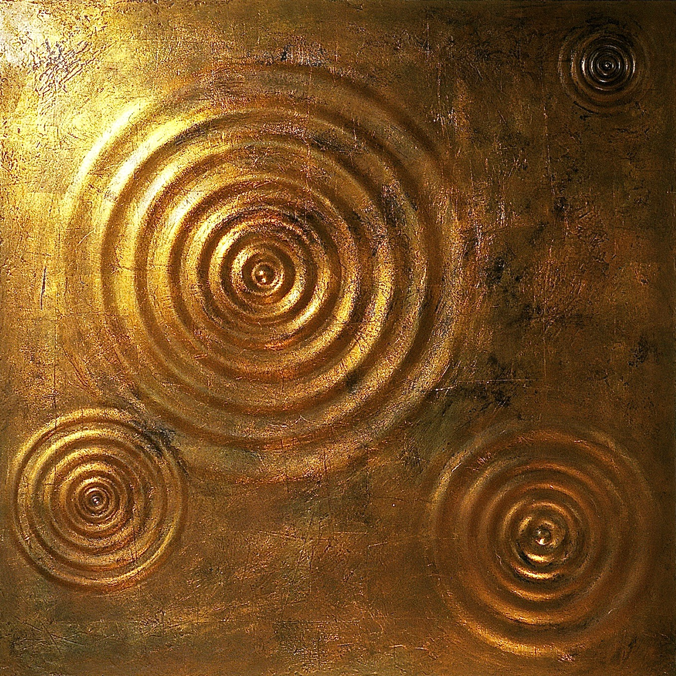 "Thomas Coffin - Ripple Effect (copper leaf), 36""h x 36""w x 2""d, mixed media sculptural wall relief"