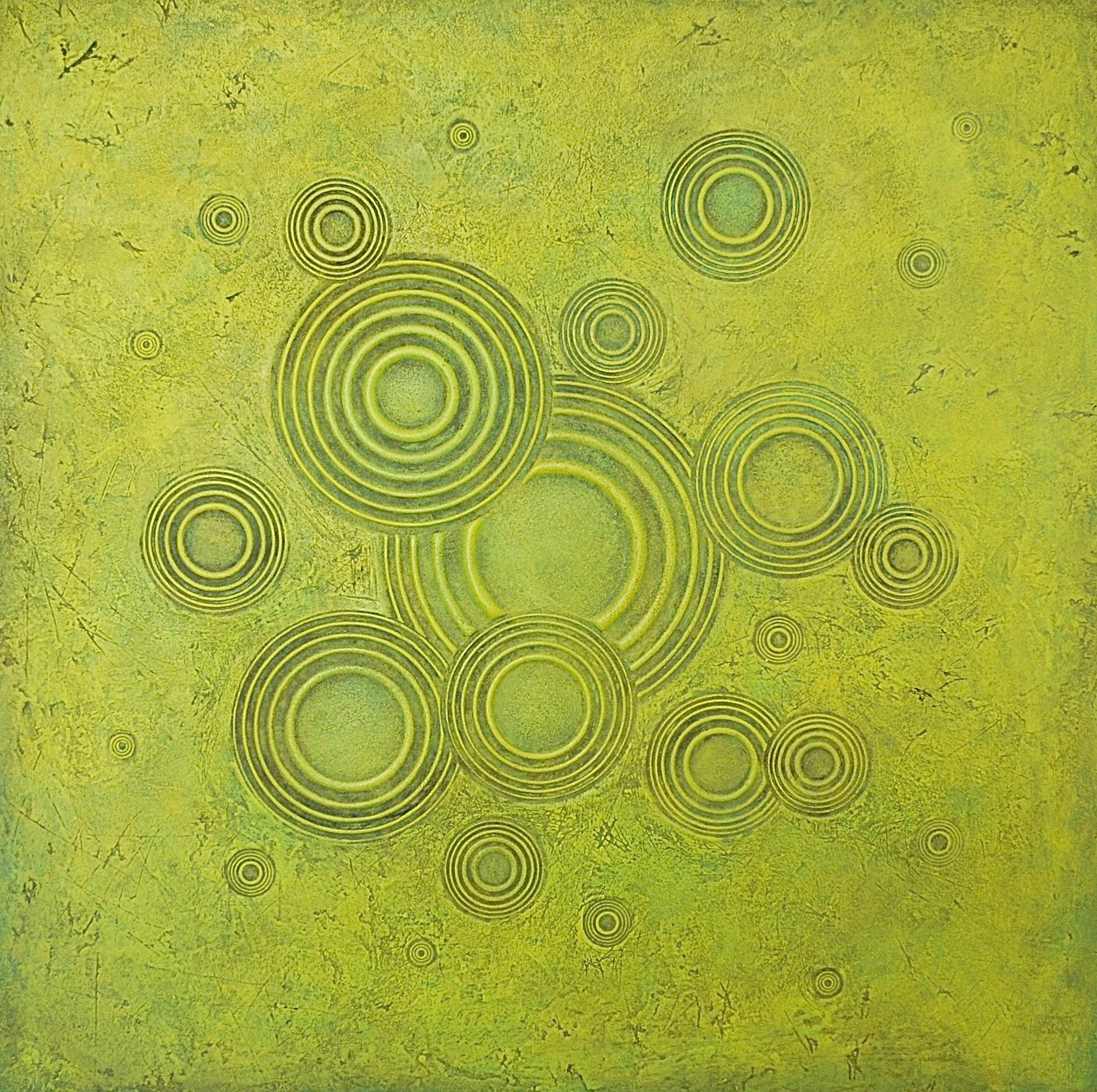 "Thomas Coffin - Ripple Effect (chartreuse), 36""h x 36"" w x 2""d, mixed media sculptural wall relief"
