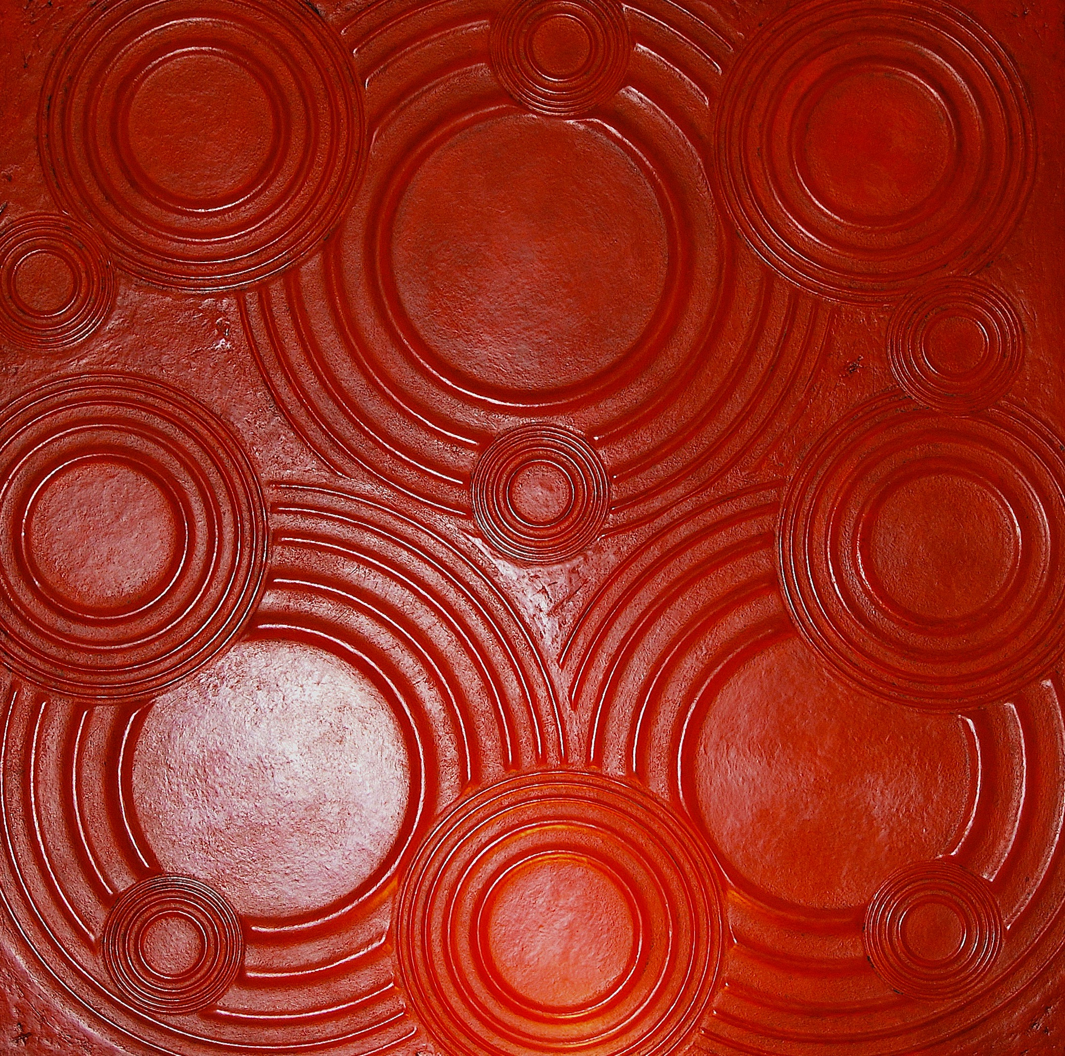 "Thomas Coffin - Ripple Effect (red), 36""h x 36""w x 2""d, mixed media sculptural wall relief"