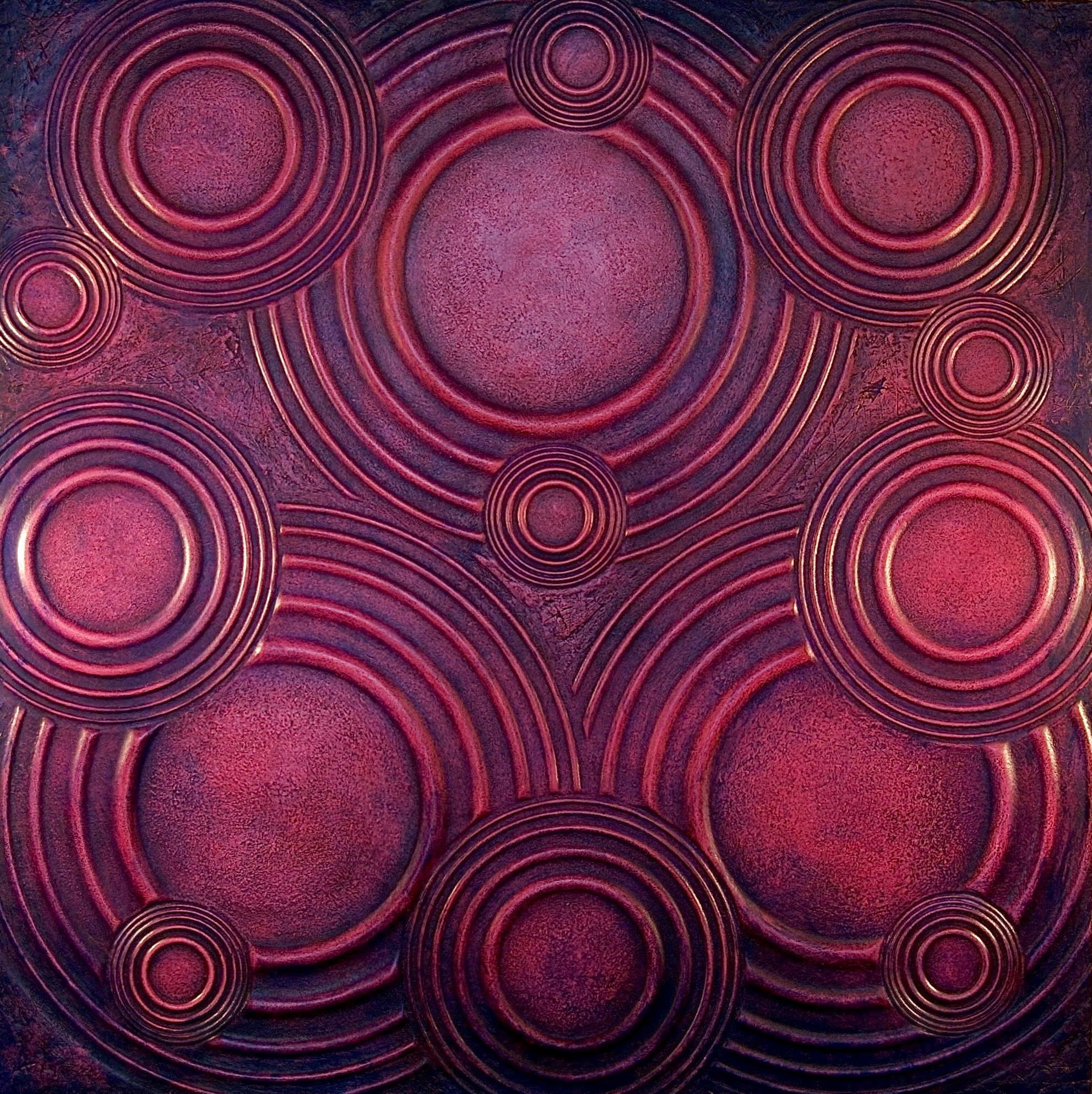 "Thomas Coffin - Ripple Effect (purple), 36""h x 36""w x 2""d, mixed media sculptural wall relief"