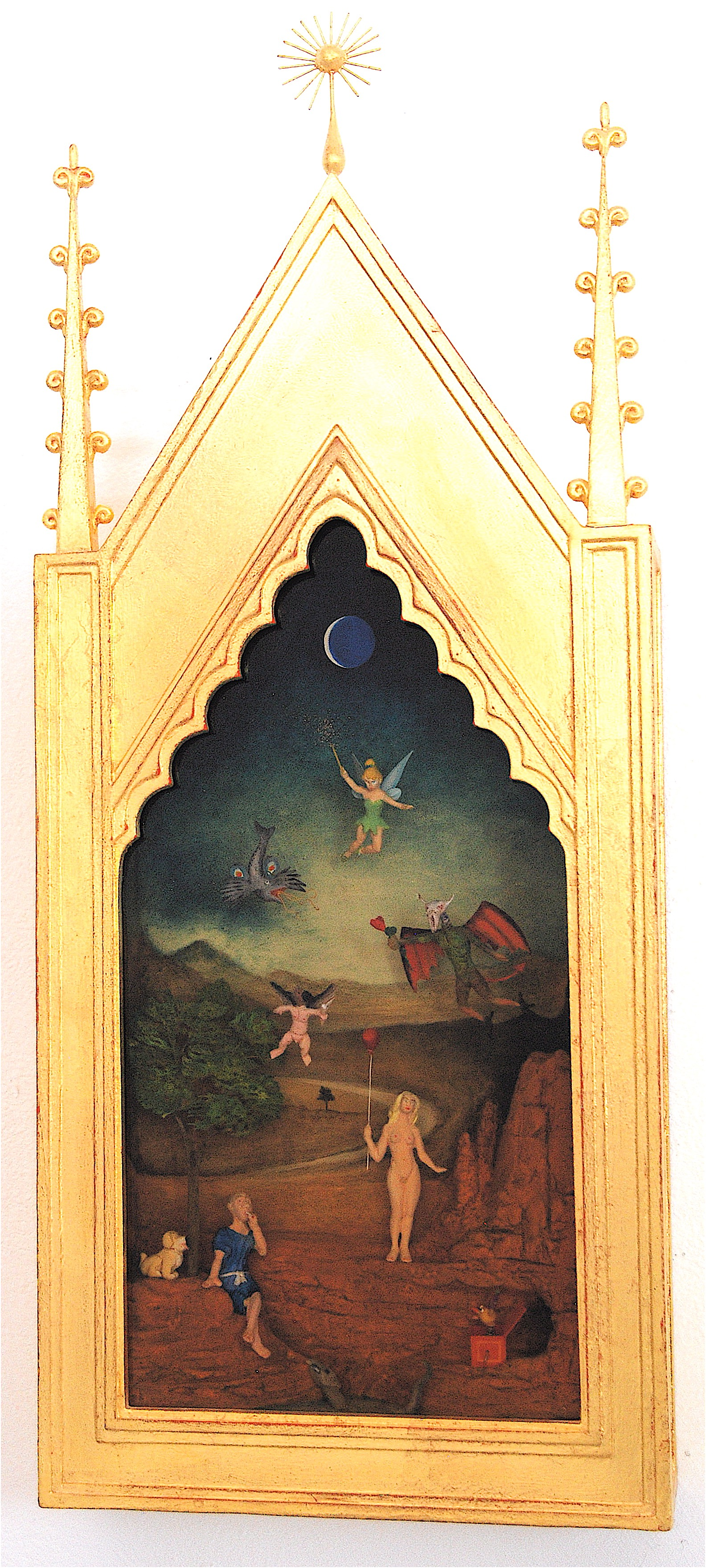 """Thomas Coffin - The Temptation of Saint Anthony, 23""""h x 10""""w x 2""""d, mixed media 3-d diorama encased in acrylic resin, handmade wood frame, 23 kt. gold leaf"""
