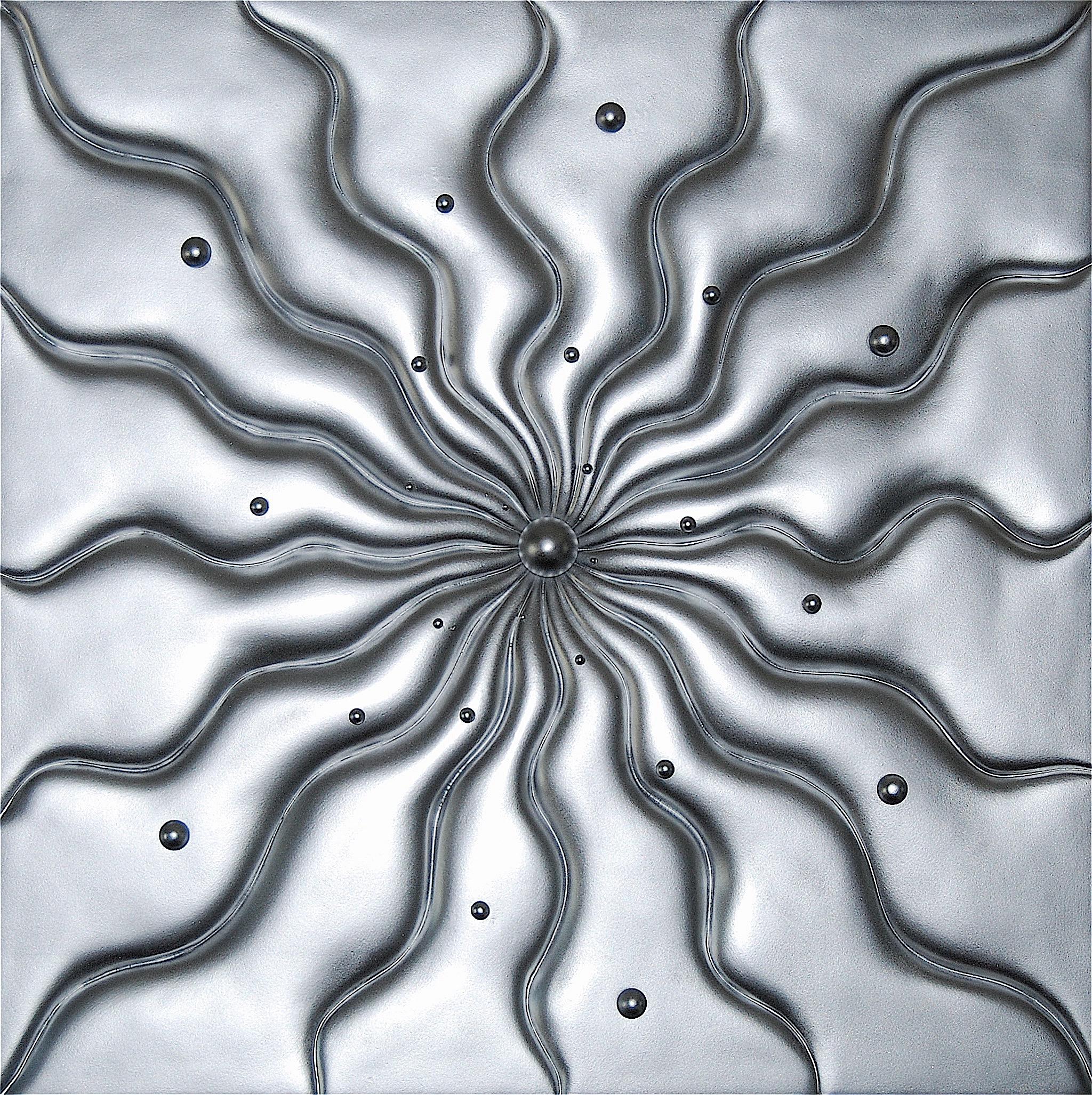 """Thomas Coffin - Vortex (aluminum paint), 36""""h x 36""""w x 2""""d, mixed media sculptural wall relief"""