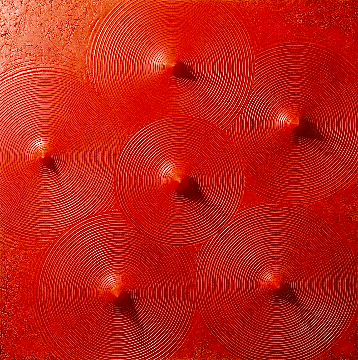 "Thomas Coffin - Spikes (red), 36""h x 36""w x 2""d, mixed media sculptural wall relief"