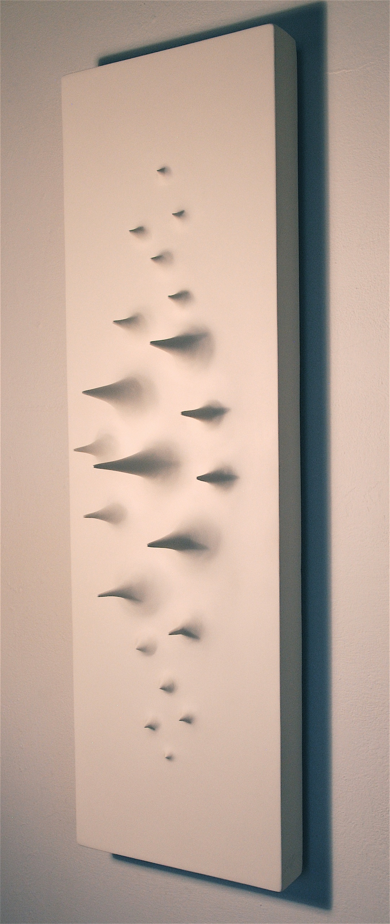 "Thomas Coffin - Spikes (white), 40""h x 12""w x 10""d, mixed media sculptural wall relief"