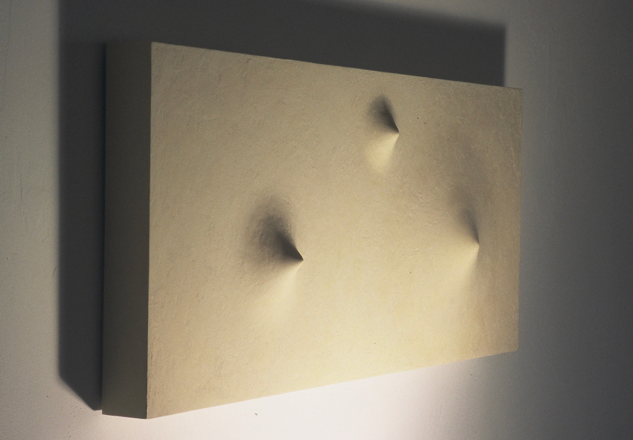 "Thomas Coffin - Vortex (white), 20""h x 40""w x 3""d, mixed media sculptural wall relief"