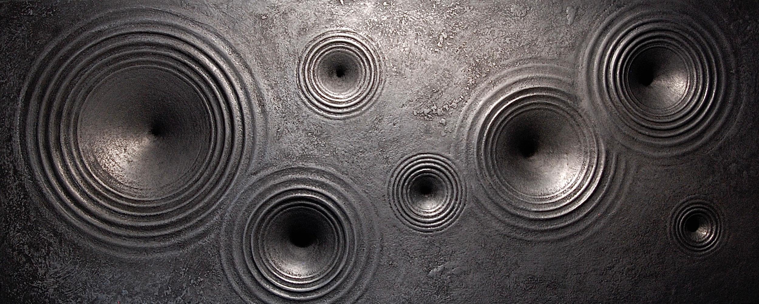 "Thomas Coffin - Vortex (graphite), 14""h x 30""w x 3""d, mixed media sculptural wall relief"