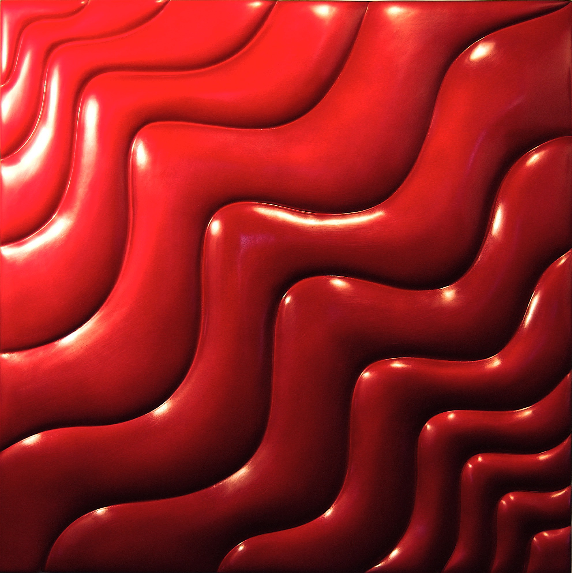 "Thomas Coffin - Wave Effect (red), 36""h x 36""w x 2""d, mixed media sculptural wall relief"