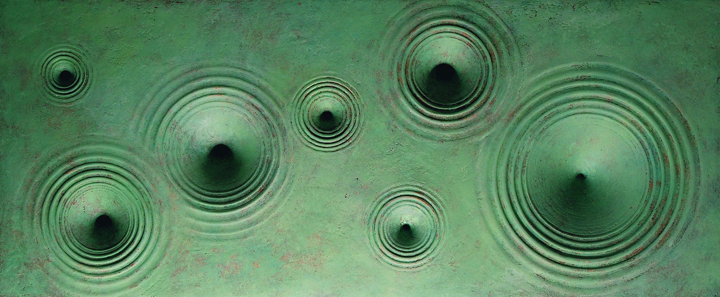 "Thomas Coffin - Vortex (green), 14""h x 30""w x 3""d, mixed media sculptural wall relief"