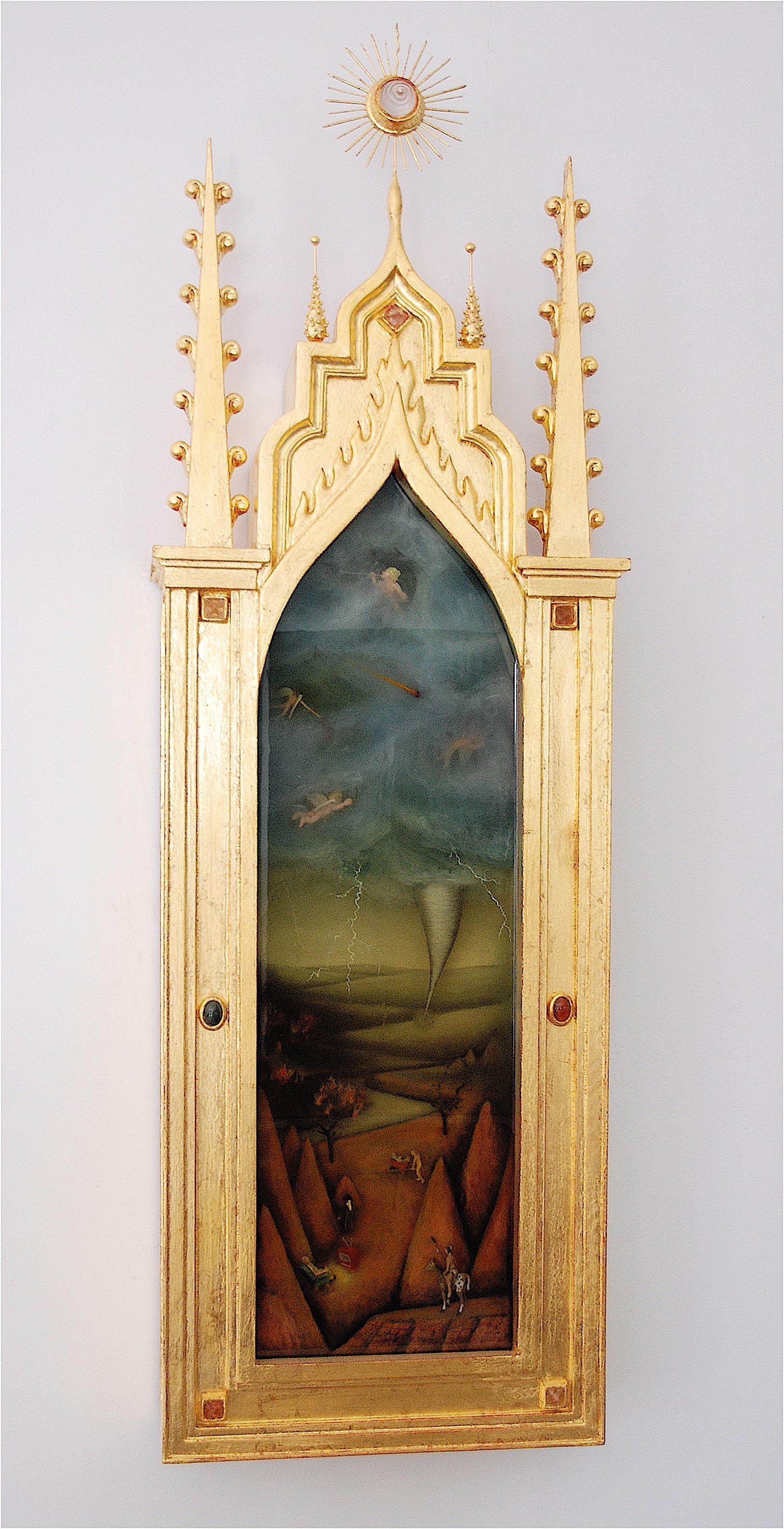 "Thomas Coffin - Bad Reception Again, 42""h x 12""w x 5""d, mixed media 3-d diorama encased in acrylic resin, handmade wood frame, 23 kt. gold leaf"