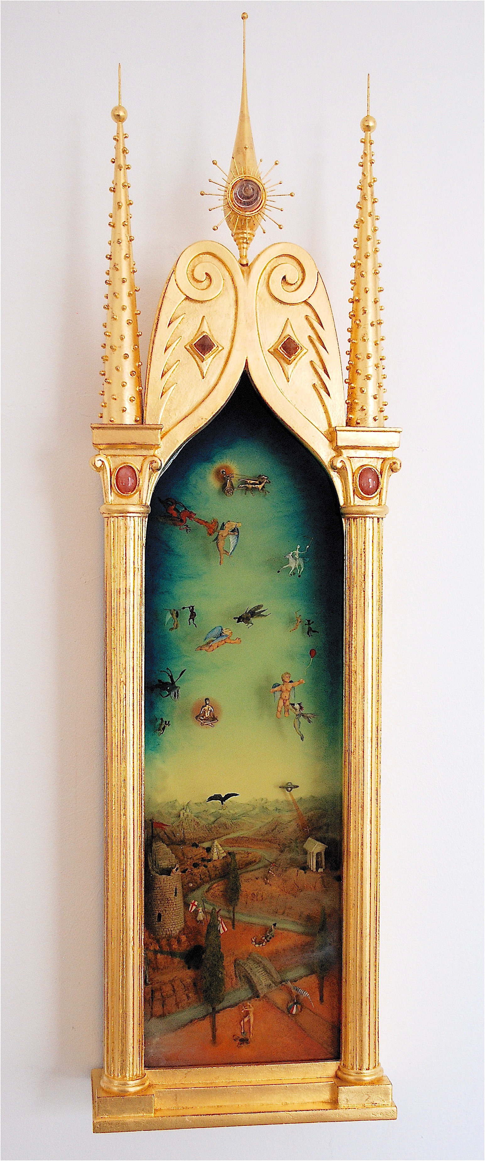 """Thomas Coffin - Battle Between Good and the Extremely Annoying, 42""""h x 12""""w x 5""""d, mixed media 3-d diorama encased in acrylic resin, handmade wood frame, 23 kt. gold leaf"""
