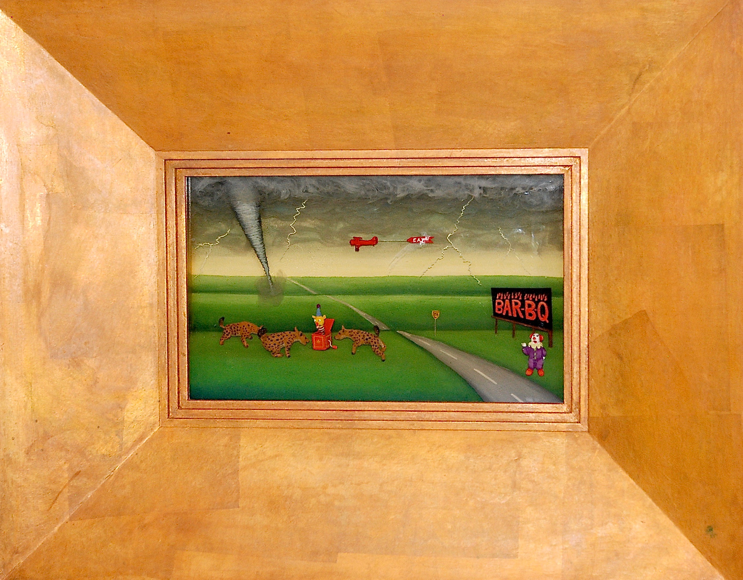 """Thomas Coffin - Don't Eat Chinese Food in Dodge, 9""""h x 19 1/2""""w x 2""""d, mixed media 3-d diorama encased in acrylic resin, handmade wood frame, copper leaf"""