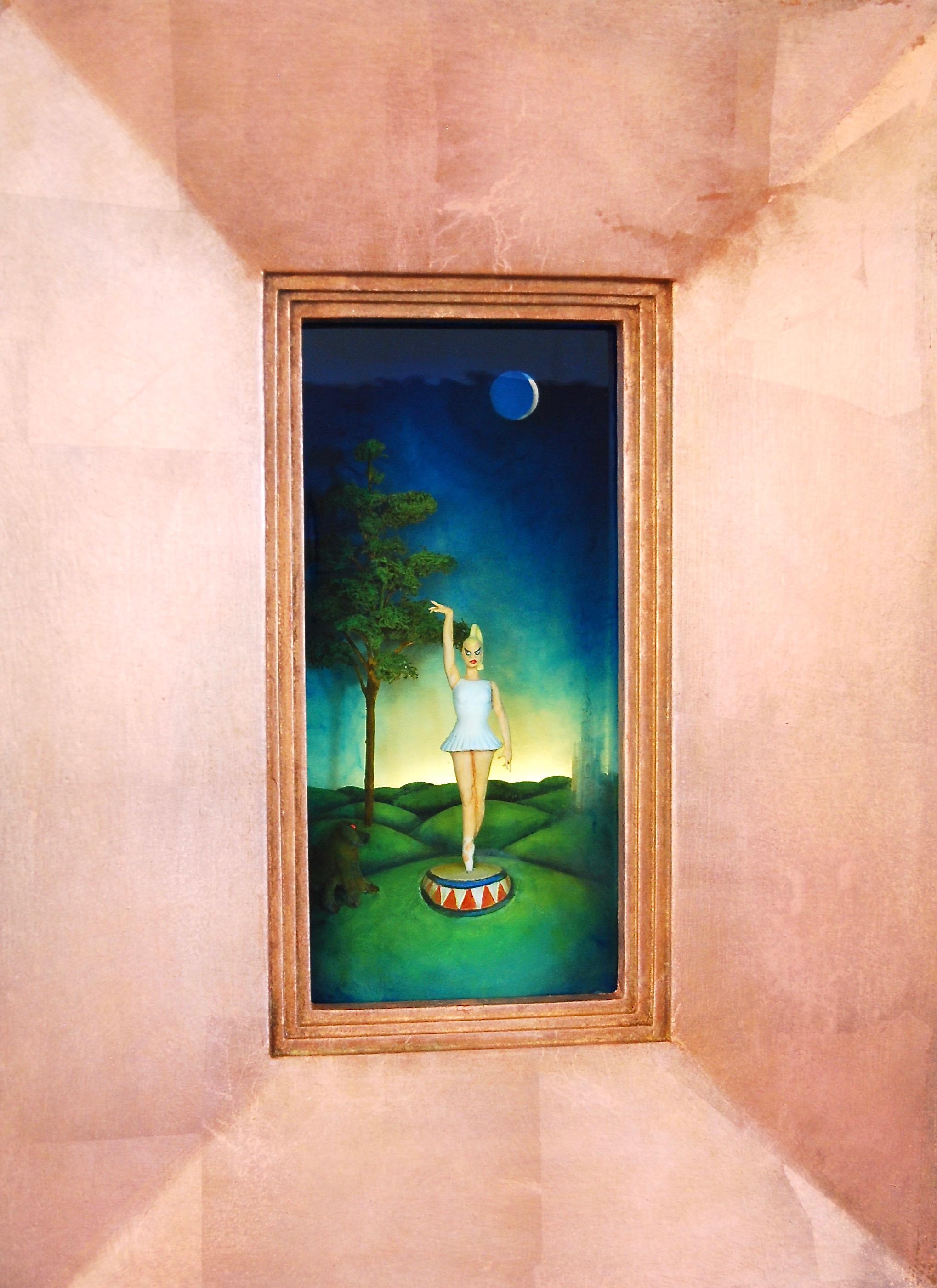 "Thomas Coffin - Lunar Baboon, 21""h x 15 1/2""w x 5""d, mixed media 3-d diorama encased in acrylic resin, handmade wood frame, copper leaf"