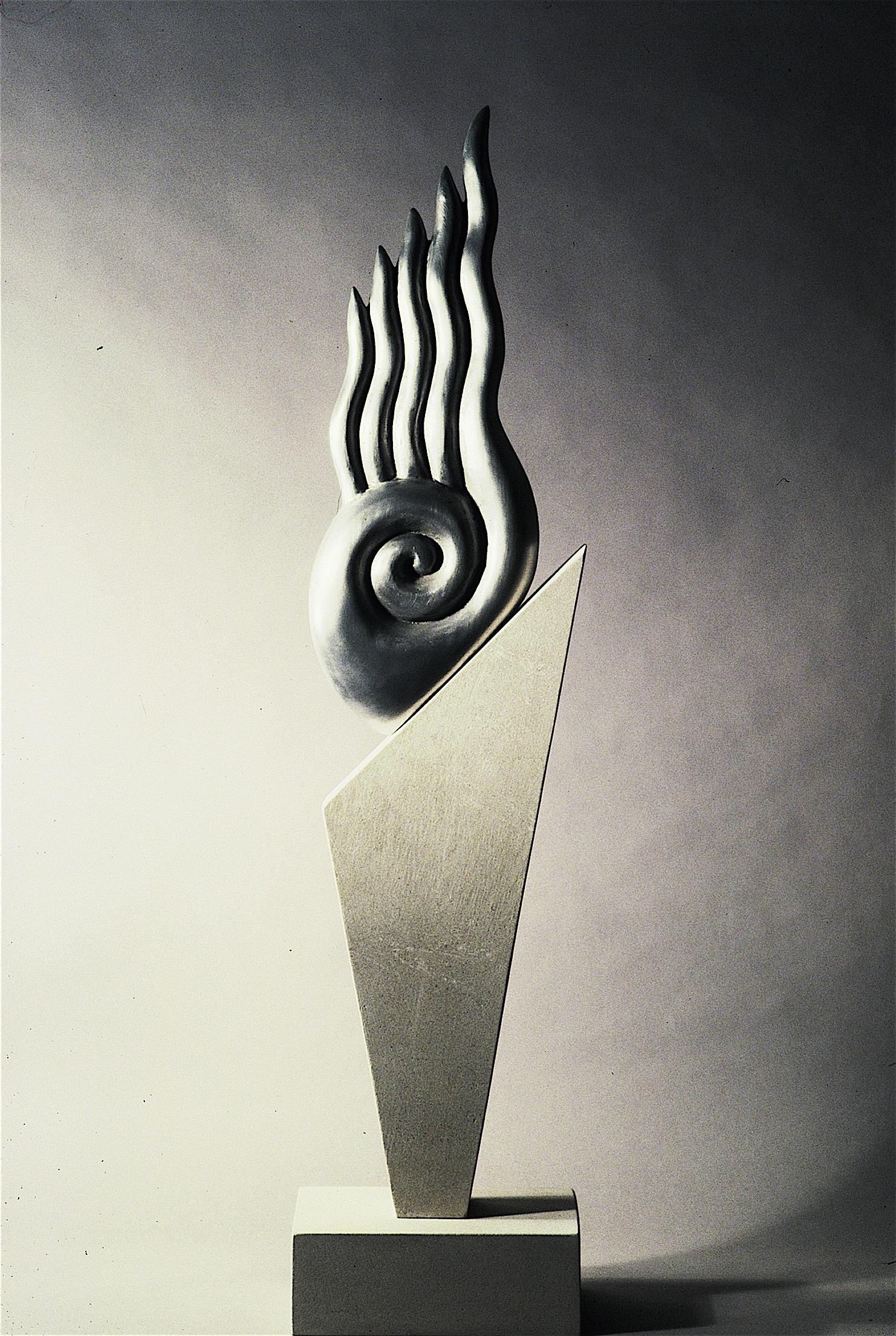 """Thomas Coffin - Idol Series, 47""""h x 11""""w x 7""""d, cast aluminum, limestone"""