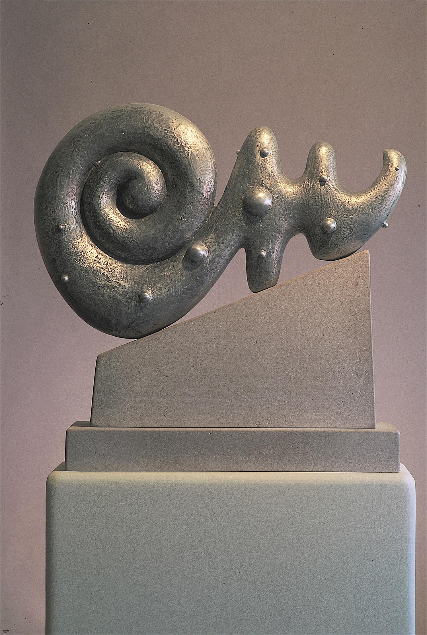 """Thomas Coffin - Idol Series, 30""""h x 32""""w x 6""""d, cast aluminum, limestone"""
