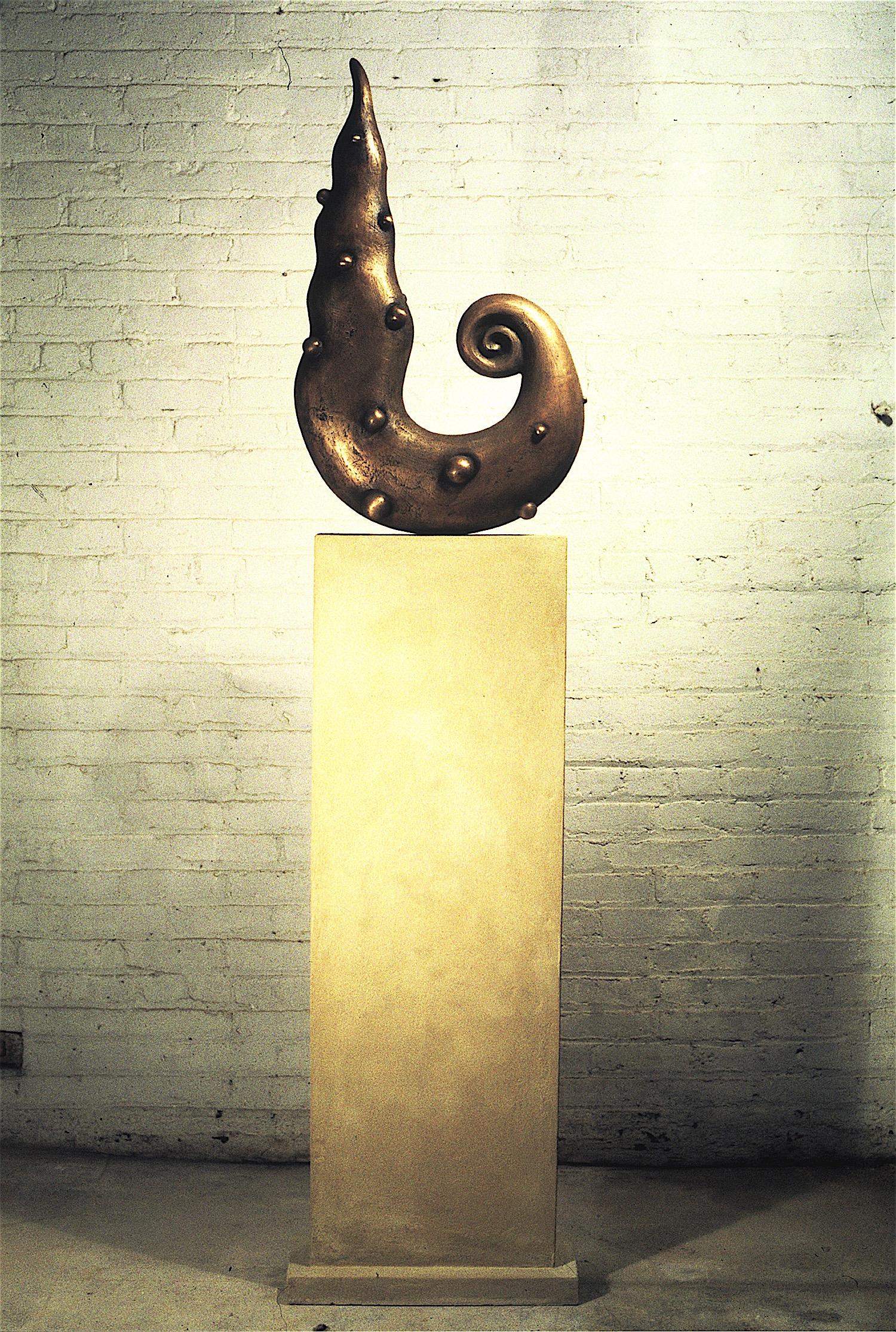 """Thomas Coffin - Sea Form, 80""""h x 19""""w x 5""""d, cast bronze, cast concrete"""