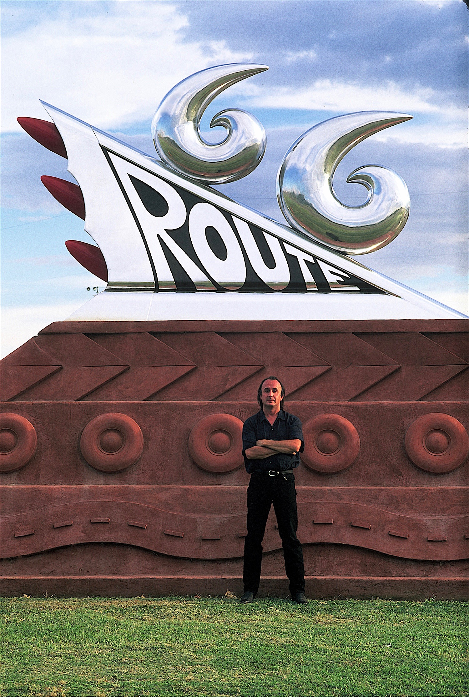 """Thomas Coffin - Artist Thomas Coffin and his Route 66 Monument - """"Roadside Attraction"""", commissioned by New Mexico Arts Commission and New Mexico Highway Department - Tucumcari, New Mexico, 1997"""