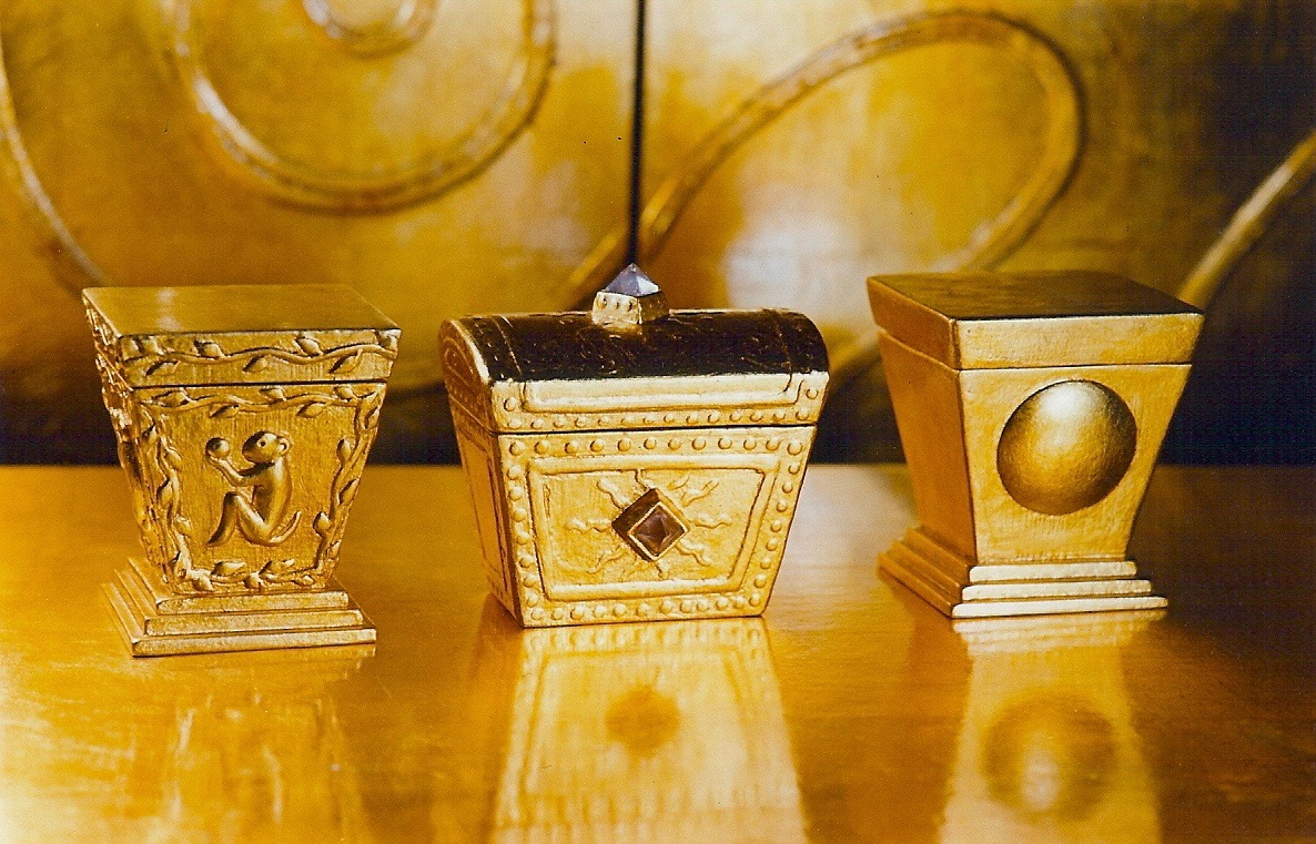 Coffin & King - Gilded Boxes - Monkey Box (perfume box with glass bottle), Small Treasure Box, Moon Box (perfume box with glass bottle), cast stone, crystals, 23 kt. gold leaf, 1990s