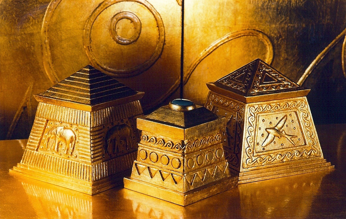 Coffin & King - Gilded Boxes - Elephant Box, Treasure Box with Stone Finial, Flying Fish Box, cast stone, 23 kt. gold leaf, 1990s