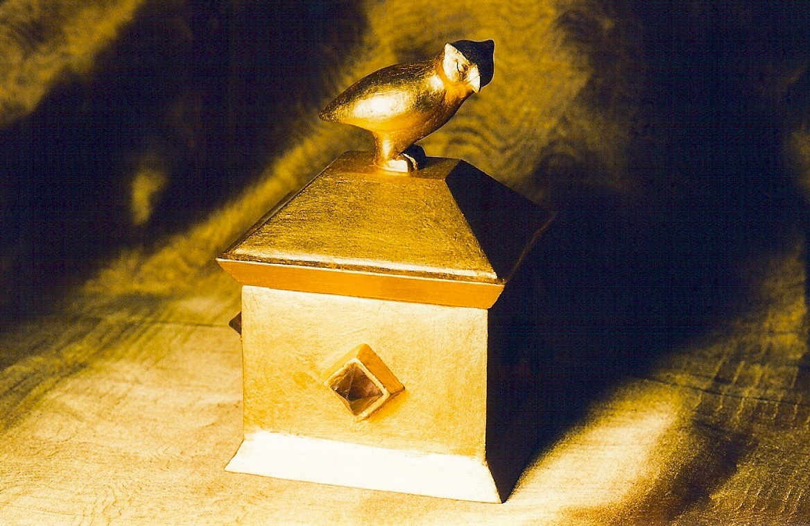 Coffin & King - Gilded Owl Box, wood, cast stone, 23 kt. gold leaf, 1990s