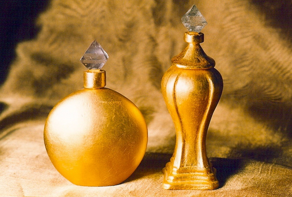 Coffin & King - Gilded Perfume Bottles with Crystal Finials, cast stone, 23 kt. gold leaf, 1990s