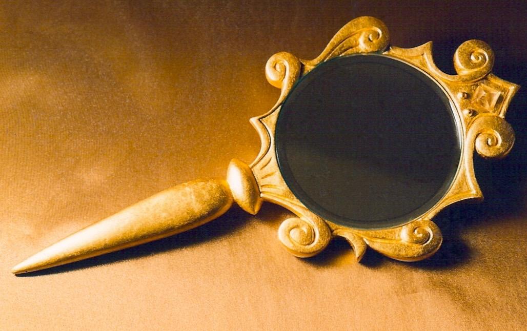 Coffin & King - Gilded Hand Mirror, crystal, cast resin, 23 kt. gold leaf, 1990s